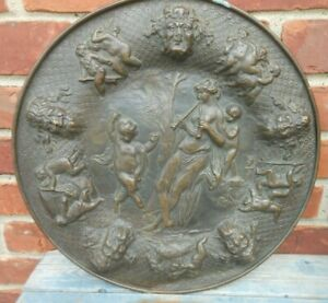 Very Good Antique  Repousse Brass wall plaque with Putti, Bacchus, Dark Bronze