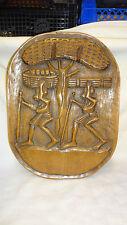 Vintage Hand Carved Hardwood Unusual Large African Tribal Plaque