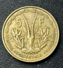 1956 West African States 5 Francs Coin XF +     Better  World Coin     #K1056