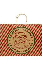 "Paper Shopping Bags 100 Christmas Gift Classic Santa Large 16"" x 6"" x 12"" Merry"