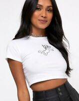 MOTEL ROCKS Tindy Crop Top in White Cherub Embro Black Extra Small XS  (MR44)