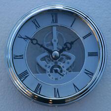 Skeleton Clock 97mm diameter quartz insertion, silver finish
