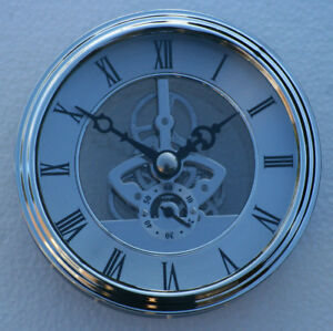 Skeleton Clock 97mm diameter quartz insertion, silver finish