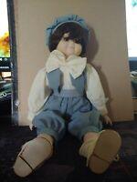 "Adorable Vintage Porcelain Boy Music Doll 16"" Brown Hair Brown Eyes"