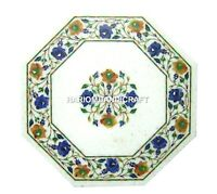 12'' White Marble Side Corner Coffee Table Top Lapis Inlay Marquetry Decor H1154