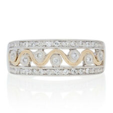 White Gold Diamond Ring - 14k Round Brilliant Cut .15ctw Milgrain Wave