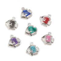 Stainless Steel Silver Tone Enamel Fish Charms for DIY Jewelry Making Pendents