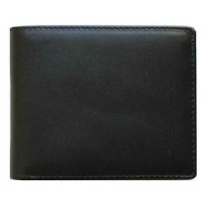 Classic Bi-Fold Black Genuine Leather Wallet ID Credit Card Holder NAPOLI