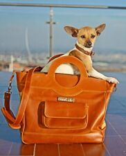 New luxury and fashionable handcrafted tan calf leather pet carrier bag purse
