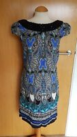 ladies DPs beaded dress size 10 blue black tunic shift smart party
