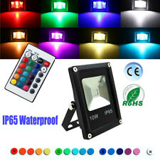 New LED Flood Light 10W RGB Remote Control Outdoor Color Changing Modern 85-265V