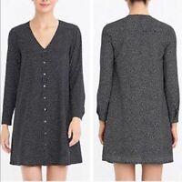 J. Crew Black White Polka Dot Long Sleeve Lightweight Shift Dress Womens Size L