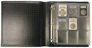 36 Certified NGC PCGS Graded Coin Slab Album Encap Pages Lighthouse Black Binder