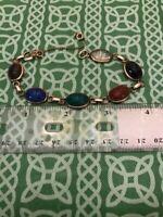 """Stunning Antique 14K Gold Filled Carved Gems Stone Egyptian Scarab 10"""" Bracelet"""