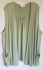 Women's Original Antthony HSN Sz 3X Green Open Front Cardigan Sleeveless