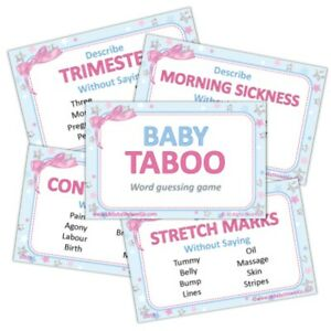 Baby Shower Game  - Taboo - UNISEX Stars Neutral Party Guessing Group