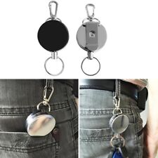 2x Retractable Metal Steel Key Ring Pull Chain Holder Reel Recoil Belt Clip Snap