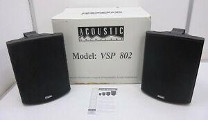 Pair of Acoustic Speakers, Black, Model: VSP 802, Outside, Inside, Waterproof