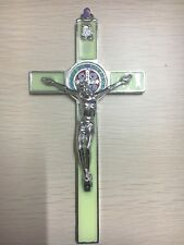 Antique Green Crucifix Wall Cross Jesus Christ on INRI Alter Decor Catholic  7""
