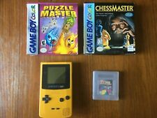 Gameboy Color Yellow, with 3 games (Puzzlemaster, Chessmaster, Tetris Plus)