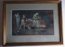 T G Cheesman RA 1891 Original Watercolour, Victorian Jester Play Scene