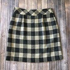 Talbots Skirt Women 14 L Checked Gingham Pencil Straight Career Black Gray Work
