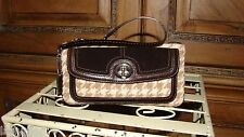 COACH BROWN/TAN WOOL HOUNDSTOOTH SUEDE WRISTLET CLUTCH ~ 5872  MINT!!