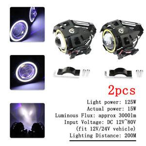 U7 125W Motorcycle LED Headlight Driving Fog Spot Light Devil Eye White+Blue
