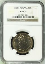Mazuma *N322 NGC Malaya QE 1961H 50 Cents MS65 Cert No.3357081-084