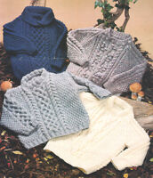 "Versatile Baby Knitting Pattern for 4 Aran Sweaters 18"" - 28""  Knitting Pattern"
