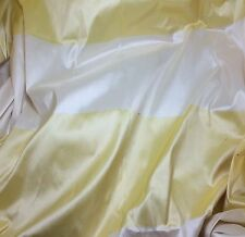 "Yellow & White Stripe Silk TAFFETA Fabric fat 1/4 18""x27"" remnant"