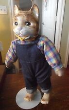 "Vintage Porcelain ? Farmer Cat Figure Cloth Body 13"" Tall 1920's ? Glass Eyes ?"