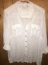 Kim Rogers White Plus Size 2x Rayon Blend Button Shirt