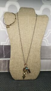 MULTI CHARM PENDANT NECKLACE & ALEX AND ANI BRACELET