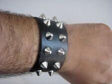 bracciale nero con borchie cono 2 file