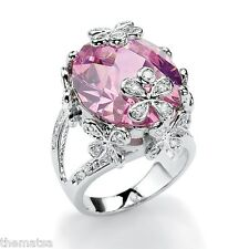 SILVERTONE FLOWER AND BUTTERFLY 21.42 TCW OVAL CUT PINK CZ RING SIZE 6,7,8,9,10