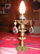 LAMPE ANCIENNE EN BRONZE ET PAMPILLES EN VERRE/N°022