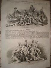 CANOTTAGGIO OXFORD Cambridge University BOAT RACE EQUIPAGGI 1867 old print e l'articolo