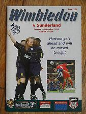 12/10/1999 Wimbledon Vs Sunderland League Cup Football Match Programme