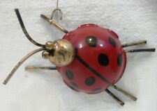 LAZZAROTTO COCCINELLA in METALLO SMALTATO portafortuna da appendere cm. 4,5x6x12