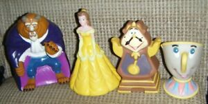 1992 COMPLETE SET 4 BEAUTY & THE BEAST HAND PUPPETS Pizza Hut Cogsworth Chip