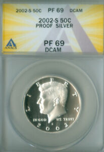 2002-S SILVER PROOF KENNEDY HALF DOLLAR ANACS PF 69DCAM (2126718)