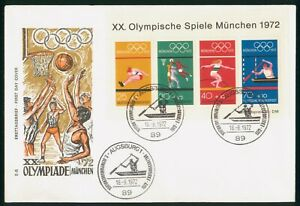 MayfairStamps Germany 1972 Souvenir Sheet München Summer Games First Day Cover w