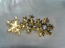 Rhinestone Accents Holiday Pin Brooch Estate Three Goldtone Snowflakes w Clear