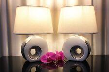 2 Lampen weiß silber Nachttischlampen Tischleuchte Tischlampe Keramik Chrom