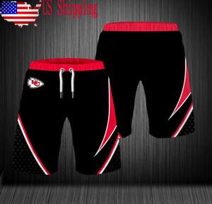 USA Kansas City Chiefs Summer Beach Shorts Men's Loose Sports Shorts Swim Trunks