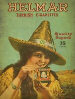 HELMAR TURKISH CIGARETTES WOMAN HAT HEAVY DUTY USA MADE METAL ADVERTISING SIGN