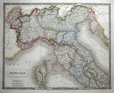 Nord de l'Italie, Corse Sidney Hall Grand originale main couleur antique map 182...