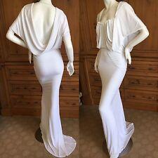 John Galliano Vintage Draped Back White Wedding Goddess Gown