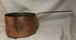 """ANTIQUE COPPER HAND FORGED LONG HANDLE COOKING POT SAUCEPAN ~ 7.5"""" Dia / 4.25Lbs"""